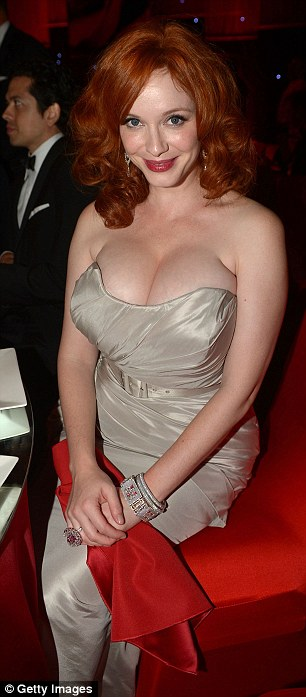 Red hot: The flame haired actress looked stunning in a metallic dress