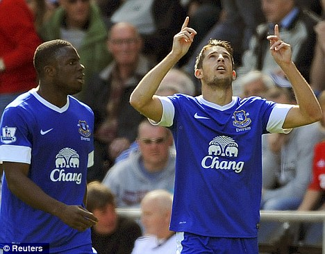 Looking up: Kevin Mirallas (R) celebrates scoring a goal with team-mate Victor Anichebe at Swansea