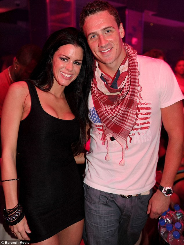 Female attention: Lochte posed with beauty Lindsey Hughes