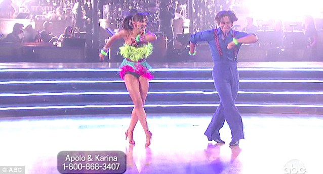 Colourful number: Karina Smirnoff and Apolo Anton Ohno were among the audience favourites tonight