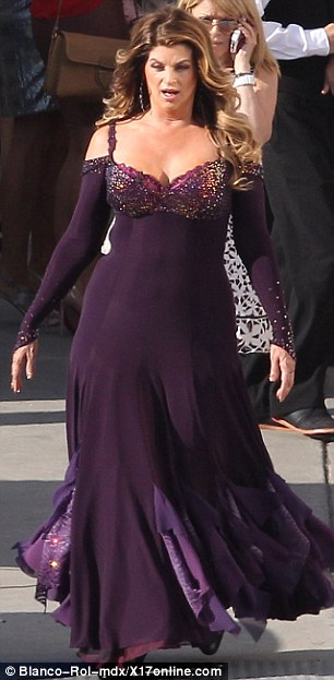 Show of support: Kirstie Alley strolls through the backlot in her ballgown, while Derek Hough's former partner Maria Menounos arrived to watch the show