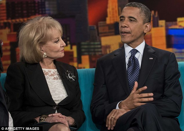 Attacks: Barack Obama, pictured on The View with Barbara Walters, has been criticised for his foreign policy