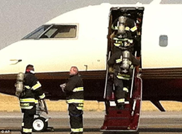 On the scene: The Romney campaign tweeted their thanks to fire crews who rushed to help them following the emergency landing in Denver