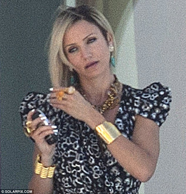 Stepping back in time: Cameron Diaz wore gaudy gold jewellery on set of The Counselor in Alicante, Spain