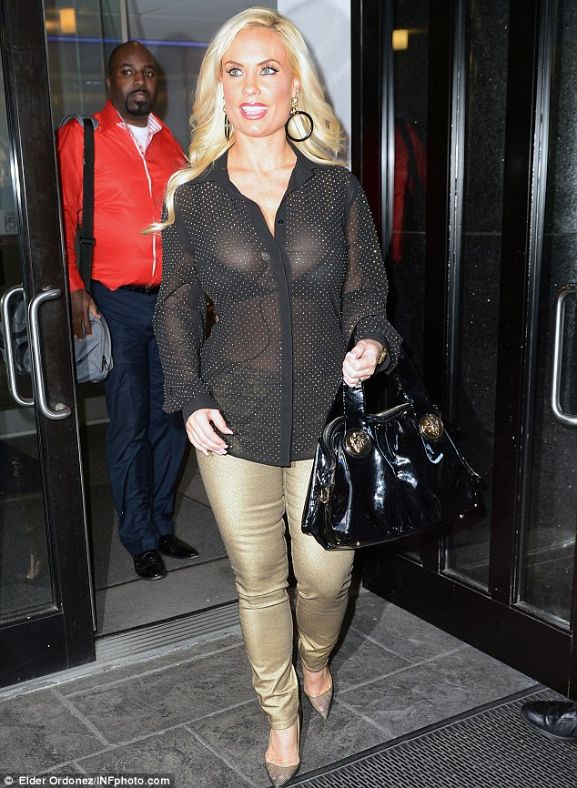 All on show: Coco Austin was pictured leaving Good Day New York studios on Tuesday in New York City