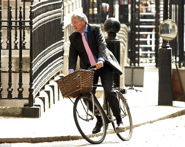 On his bike: Just 12 hours after launching a foul-mouthed rant at officers in Westminster, Tory Chief Whip Andrew Mitchell returned the next morning and demanded to be let through again (file picture)