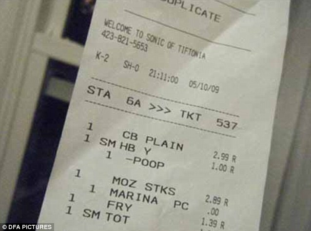 This customer got a little more than they bargained for when they were given a receipt showing they'd bought one portion of poop!
