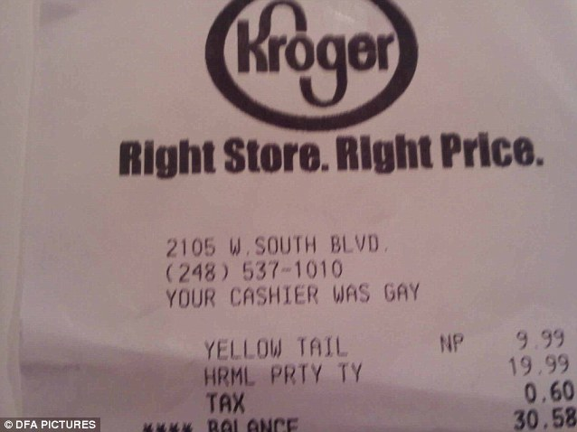 This cashier obviously thinks revealing their sexuality is a key element of the job