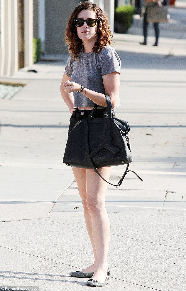 Slim: Rumer looked trim as she walked down the street in the Californian sunshine