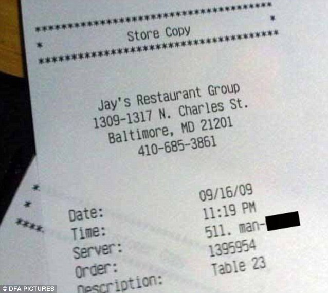 The name this server at Jay's Restaurant in Baltimore was a bit too rude to print