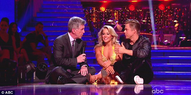 Buddying up: Shawn Johnson and partner Derek Hough conducted their interview on the floor after Derek joked about the former gymnast's height