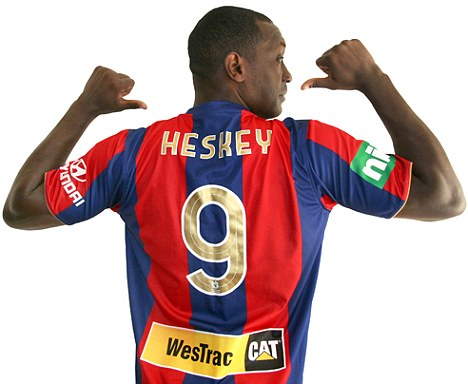 Getting shirty: Heskey will make his A-League bow next month