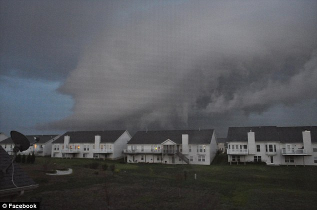 Bracing: Residential homes are pictured awaiting the storm that would rip steal beams from farm roofs and level at least one house under construction