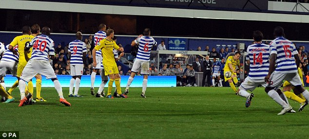 Pinpoint: Shorey fires in the free-kick which made it 2-2