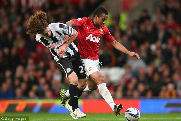 Good form: Anderson was in the mood as he battled in midfield