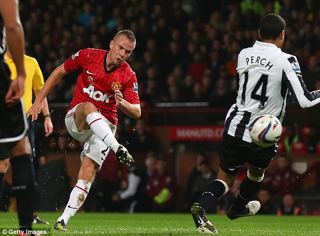 Good hit: Tom Cleverley smashed in Manchester United's second goal