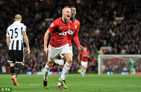On the way: Tom Cleverley helped Man United reach the fourth-round