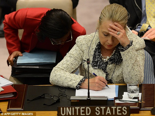 Mrs Clinton, pictured earlier attending a UN Security Council meeting on peace and security in the Middle East during the general assembly