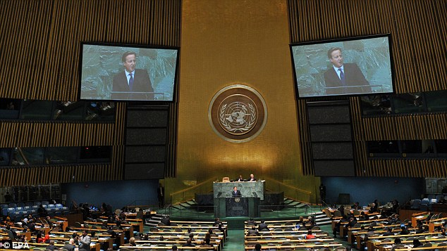 Packed schedule: Earlier in the day, Mr Cameron, addressed the 67th session of the United Nations General Assembly