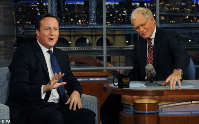 Detention! When asked what the Magna Carta meant by talk show host David Letterman, right, university-educated Mr Cameron, left, opened his hands in a shrug