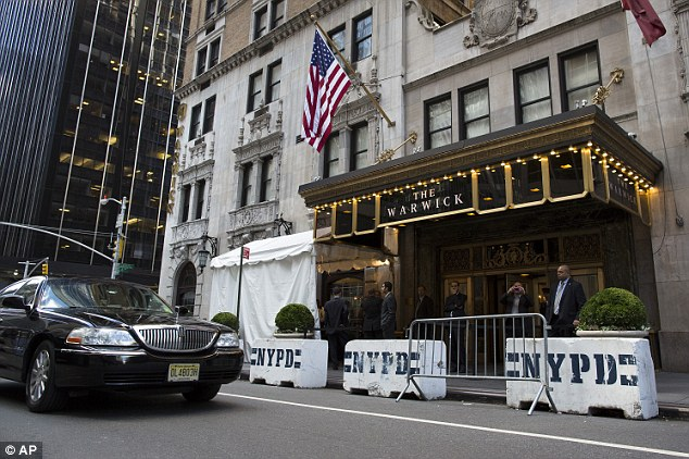 Luxury: Police barricades surround the Warwick hotel, in New York, where the Iranian president is staying during the U.N. meet