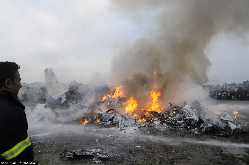 Incinerated: Villagers were unable to approach the plane because of the flames and it took some time for firefighters to bring the fire under control