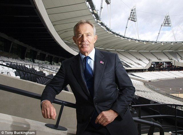 Comeback king: Blair, seen here at The Olympic Stadium, has, all summer long, been orchestrating a comeback, arranging meetings and organising interviews in sympathetic newspapers