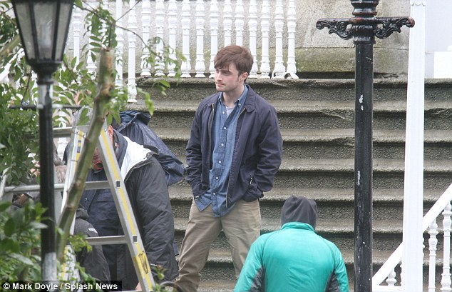Back on his feet: Radcliffe was in a chatty mood in between takes