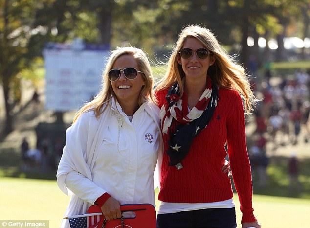Cheerleaders: Amy Mickelson and Jillian Stacey, girlfriend of Keegan Bradley, follow their partners' match