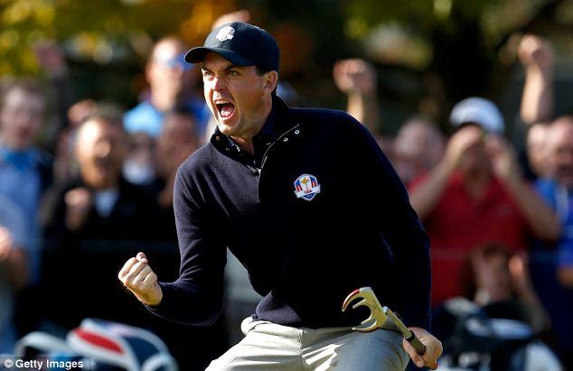 American wunderkid: Keegan Bradley celebrates birdie on the ninth