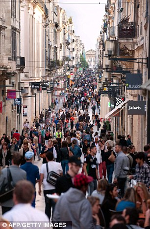 Bustling: The street Sainte-Catherine where the British schoolgirl, Megan Stammers, 15, and her maths teacher, Jeremy Forrest, 30, were found by the police in Bordeaux