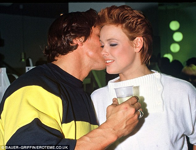Cosy: Here Nielsen and Arnold are spotted getting cosy at the Euro Sports Center in Vienna, Austria in 1984