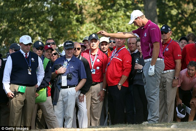 Back to earth: Nicolas Colsaerts takes a drop on the 14th