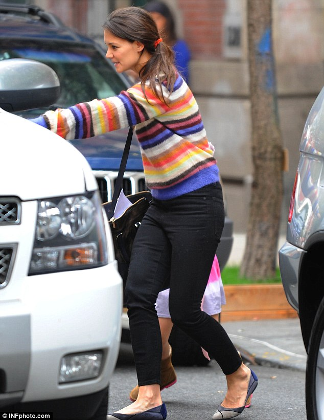 Getting a ride: The six-year-old youngster and the actress, 33, were spotted waiting for a chauffeured car to pick them up