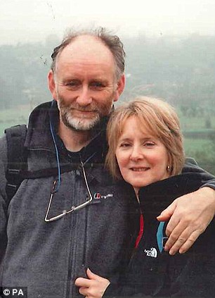 Stephen Holding (left) and his wife Maggie Holding. Mr Holding was one of seven Britons who died after a plane burst into flames and crashed in Nepal