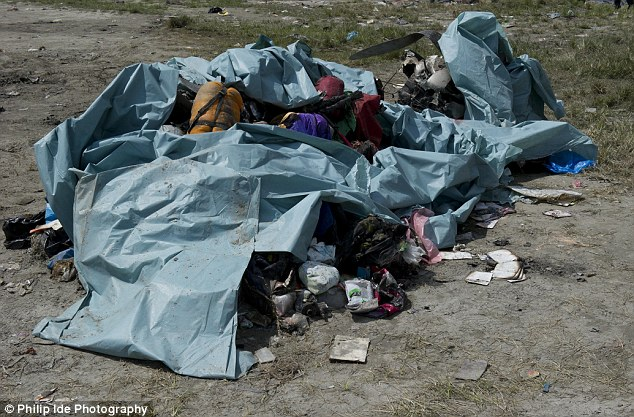 Overloaded?: The picture of rucksacks and personal belongings found at the wreckage site in Nepal