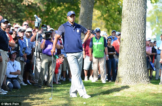Forlorn figure: Tiger Woods has lost his three Ryder Cup matches
