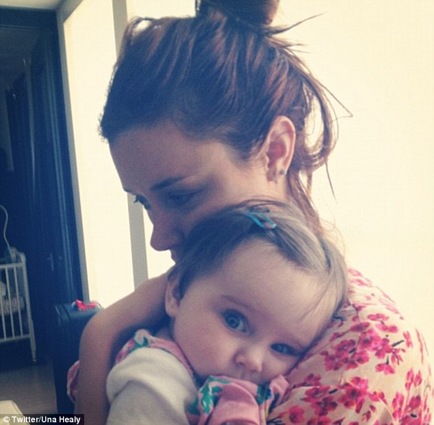 Mother and baby: Una Healy posted this picture on Twitter with the caption: 'Even though you kept me up all night...<3'