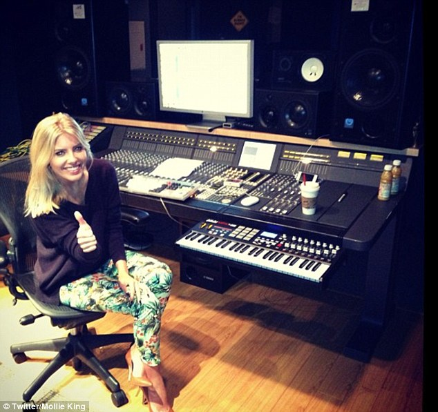 Where the magic happens: Mollie King tweeted this picture of the studio where The Saturdays are collaborating with Diane Warren