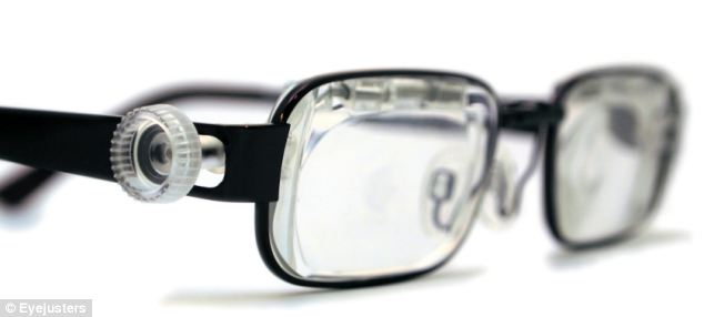 The glasses can be adjusted using a dial on their side. This uses water to change the lens, allowing wearers to simply twist the dial until they can see clearly.