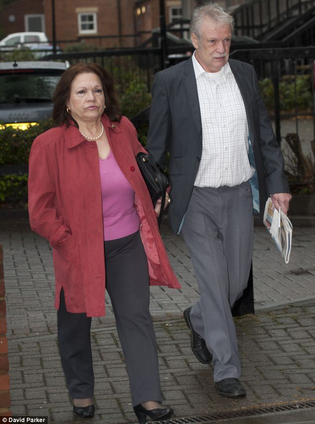 Supportive family: Miss Larke's parent Penelope and Jeremy are due to give evidence against Collins later today