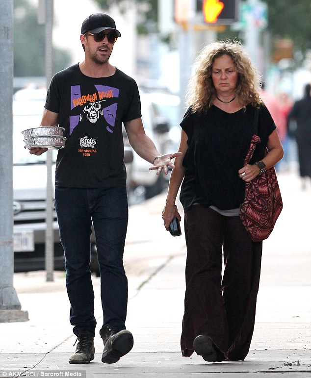 Mummy's boy! Ryan Gosling took his mother Donna for lunch in between filming his latest blockbuster and helpfully carried the leftovers