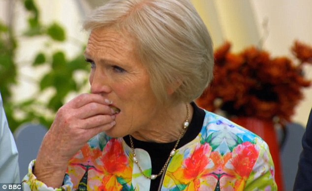 Tucking in: Mary Berry has revealed she can easily eat up to 80 piece of cake per episode of The Great British Bake Off