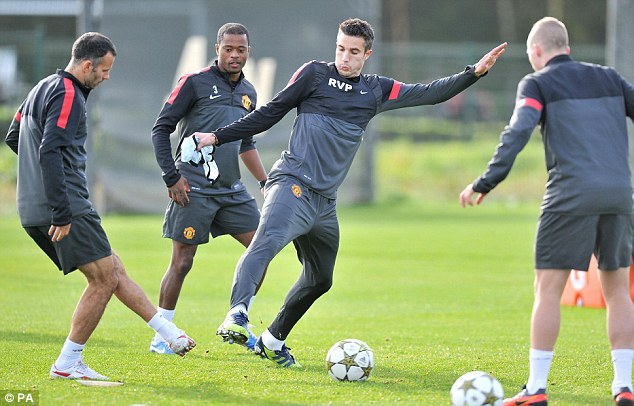 Gearing up: United trained on Monday morning before heading to Romania