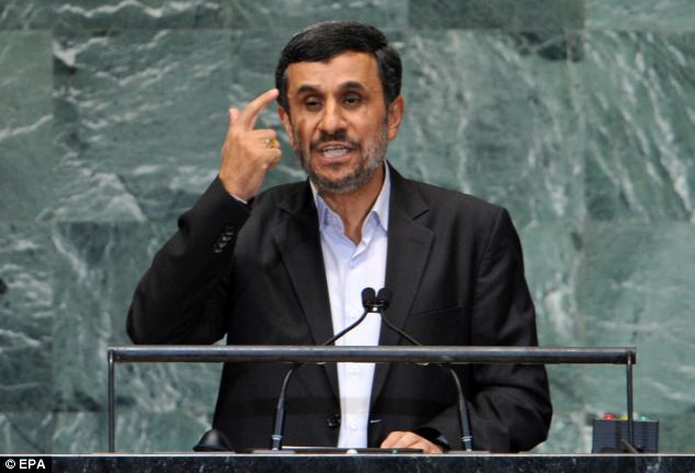 Pressure: President Mahmoud Ahmadinejad, pictured speaking at the General Assembly at UN headquarters in New York City last week blames Western sanctions for the dip in Iran's economy