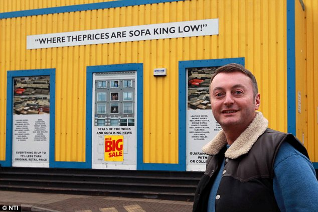 The Sofa King: Sofa King boss Mark Kypta who captured the CCTV sequence said his store manager Mr Hallett is in line for a healthy Christmas bonus for his bravery
