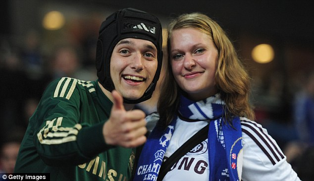 Local support: Danish Chelsea fans show their support for the west London side in the Parken Stadium