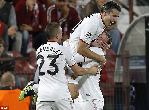 Deadly duo: Robin van Persie and Wayne Rooney combined for a second time to score for Manchester United