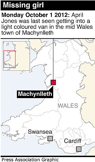 Graphic locates Machynlleth in Wales where a girl is missing