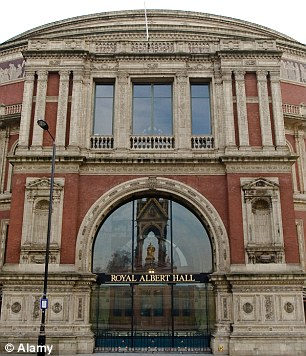 Royal Albert Hall, where Camilla was due to attend the Classical Brit Awards tonight.